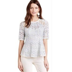 Anthropologie HD in Paris Blue & Cream Lace Blouse